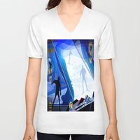 skiing V-neck T-shirts featuring Cross Country Skiing by Robin Curtiss