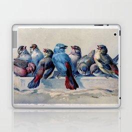 Vintage Blue & Red Winter Songbirds Laptop & iPad Skin