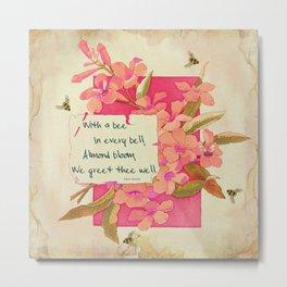 Flowers & Bees II Metal Print
