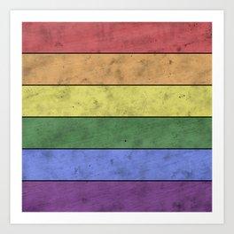 Vintage LGBT flag pride distressed black Rainbow wood Art Print