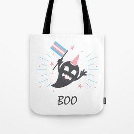 Trans Ghost Transgender Pride Flag Halloween LGBT Light Tote Bag