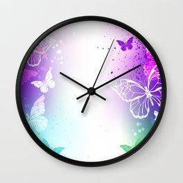 Bright Background with White Butterflies Wall Clock