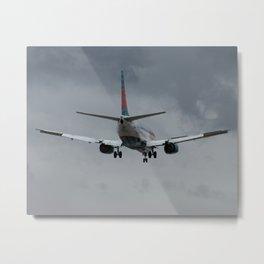 America West Airlines 737-300 stormy landing Metal Print