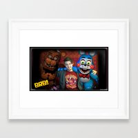 """fnaf Framed Art Prints featuring FNAF FRIENDS by """"Neverodd Inks"""""""