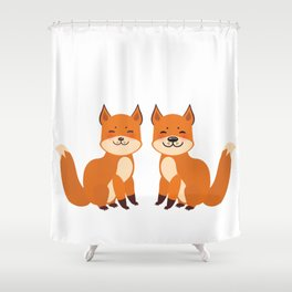 cute fox, boy and girl with funny face and fluffy tails on white background Shower Curtain