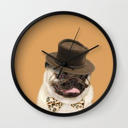 Dog pug with hat Wall Clock