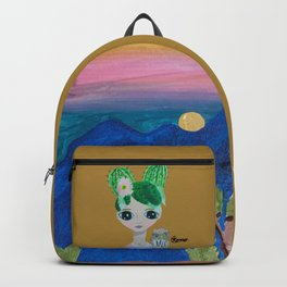 ~ Cactus Hair Clementine & Pygmy Owl ~10 year old Artist Amelia Milly Moo Backpack