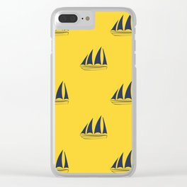Navy blue Sailboat Pattern on yellow background Clear iPhone Case