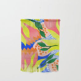 Bold Flower Pattern Blue Background Wall Hanging