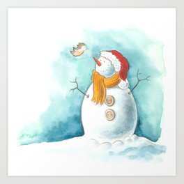 A snowman and a little bird Art Print