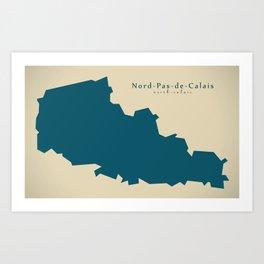 Modern Map - Nord Pas de Calais FR France Art Print