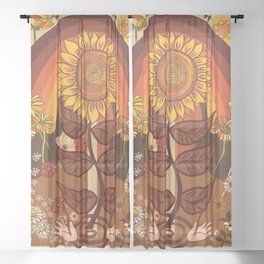 70s, Sunflower, retro, rainbow, warm colors, 60s, boho Sheer Curtain