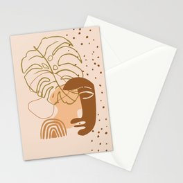 Monstera leaf african human face mask, tribal art print, rainbow dots shapes background, modern art Stationery Cards