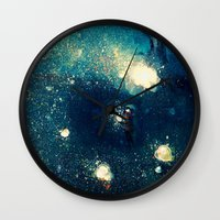 fireflies Wall Clocks featuring Fireflies by Morgan Ofsharick - meoillustration