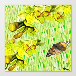 Orchids Lemon Yellow and Lime Green Canvas Print