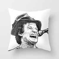 robin williams Throw Pillows featuring williams by BzPortraits