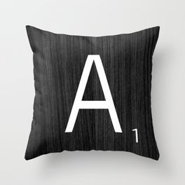 Black wood scrabble A Throw Pillow