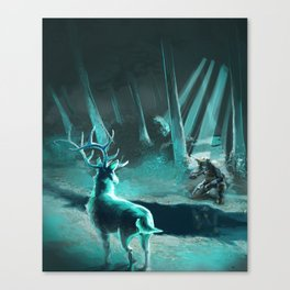 Elk and Soldier Canvas Print