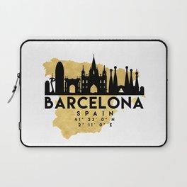 BARCELONA SPAIN SILHOUETTE SKYLINE MAP ART Laptop Sleeve