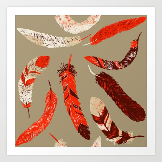 Flying Feathers Art Print