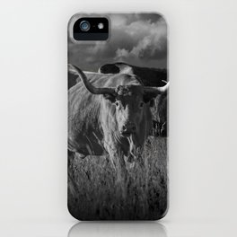 Texas Longhorn Steers under a Cloudy Sky in Black & White iPhone Case