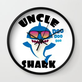 Uncle Shark design Gift - Cute Baby Shark Matching Family Wall Clock