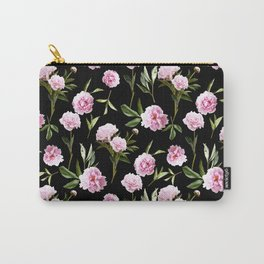 Peonies in Her Dreams - black Carry-All Pouch