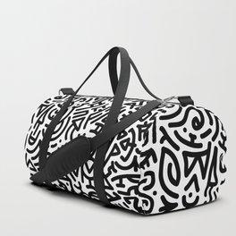 Bold Black Marker Doodle Line Duffle Bag