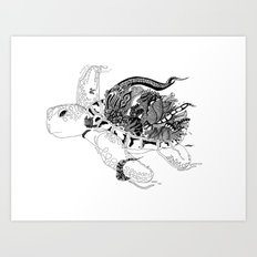 Inking Turtle Art Print