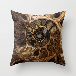 Earth treasures - Fossil in brown tones Throw Pillow