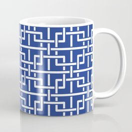 Tangled squares Chinoiserie in blue & white Coffee Mug