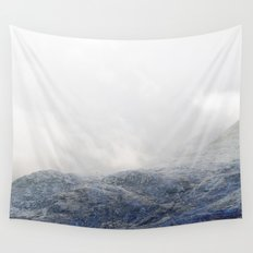 Electric Landscape I - Snowy Blue Mountains Wall Tapestry