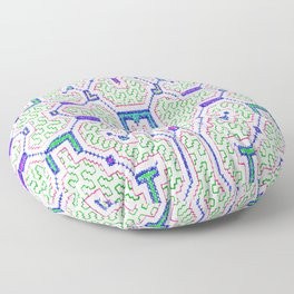 The Song to Support Spiritual Growth - Traditional Shipibo Art - Indigenous Ayahuasca Patterns Floor Pillow