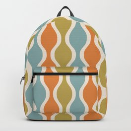 Classic Retro Ogee Pattern 842 Orange Blue and Olive Backpack