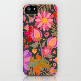Flowers on Green iPhone Case