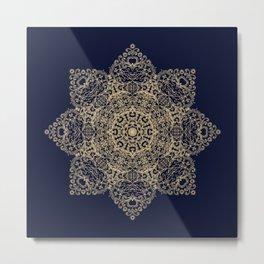 Golden star, mandala Metal Print