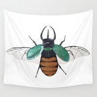 atlas Wall Tapestries featuring Chalcosoma atlas by Caitlin Krupinski