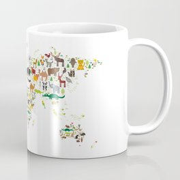Cartoon animal world map for children and kids, Animals from all over the world on white background Coffee Mug