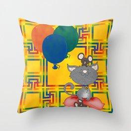 Cat & Mouse Slumber Party Throw Pillow