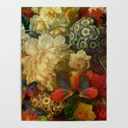 """Baroque Spring of Flowers and Butterflies"" Poster"