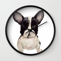 frenchie Wall Clocks featuring Frenchie  by craftberrybush