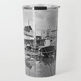 Tenby Harbour Boats.Pembrokeshire.B+W. Travel Mug