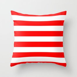 Stripe Red and White Lines Throw Pillow