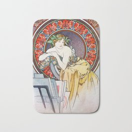 "Alphonse Mucha ""Girl With Easel"" Bath Mat"