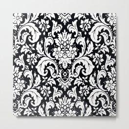 Damask Paisley Black and White Paisley Pattern Vintage Metal Print