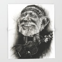 Willie Nelson Caricature Throw Blanket
