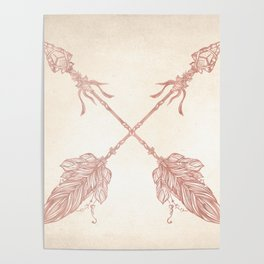 Tribal Arrows Rose Gold on Paper Poster