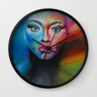 psychedelic Wall Clocks featuring Psychedelic  by Halinka H