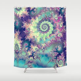 Violet Teal Sea Shells, Abstract Underwater Forest  Shower Curtain