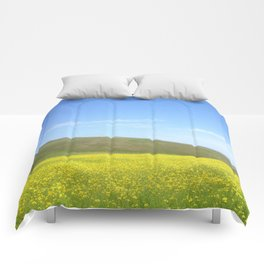 yellow flower field Comforters
